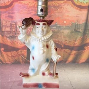 Vintage 60's Lane&Co California Kitschy Clown Tipping Hat Ceramic Table Lamp